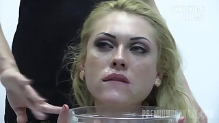 Premium Bukkake - Monro swallows 82 huge mouthful cum loads
