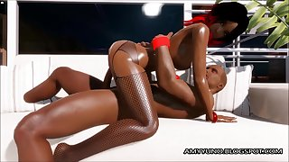 Black Couple In 3D MMO Porn Dating Game Making Love