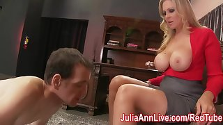 Busty Milf Julia Ann makes Foot Boy Lick Her Feet!