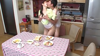 Asian MILF Fucks Her Stepson During Dinner