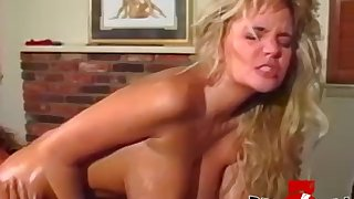 Busty babe ass dildoed while licking pussy in lesbo threeway